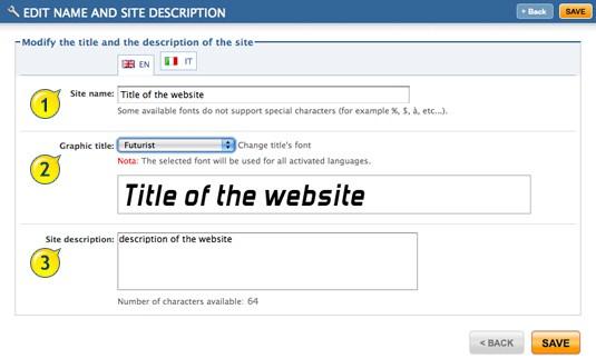 Title and description of website