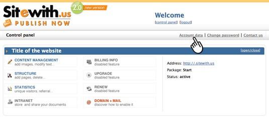 User account data
